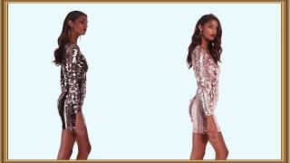 Mini Dress Decorated With Gold Sequins || Relax 167