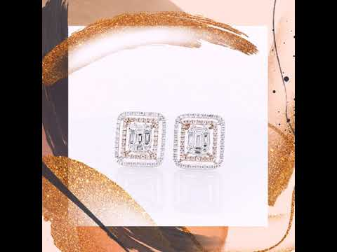 The stylish Rose Gold and White Gold Diamond Ear Studs