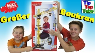 Großer Baustellen Kran von Dickie Toys Giant Crane Unboxing Video Spielzeug TipTapTube Kinder Kanal