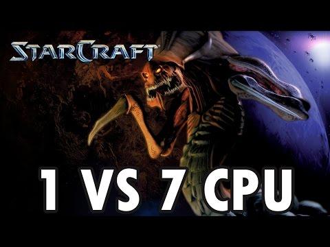 StarCraft Brood War - Zerg vs 7 Random Computer - Map: Big Game Hunters (Walkthrough)