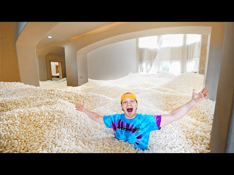 , title : 'I FILLED MY ISLAND HOUSE WITH PACKING PEANUTS!