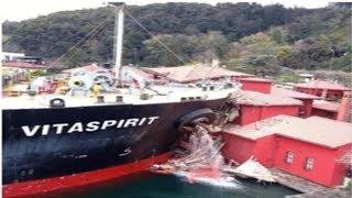 Ships crashing into bridges and houses compilation