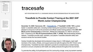 TraceSafe to Provide Contact Tracing IIHF World Junior Championship
