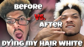 DIY:BLEACHING MY HAIR WHITE (PLATINUM BLONDE) HOW TO *MEN *Dying tips