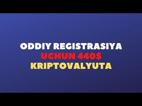 ODDIY REGISTRASIYA UCHUN 440$ KRIPTOVALYUTA