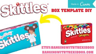 Custom Skittles Box Template Tutorial DIY: Canva Templates
