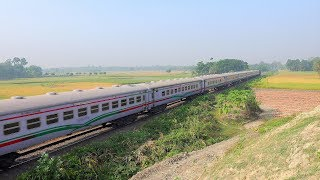 Khulna to Chilahati bound Rupsha Express powered by BR ALCO 6504 WDM 3A with PT INKA Rake
