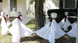 Sunday 10-27-13 Vlog & Outdoor Halloween Decorations Making Ghosts