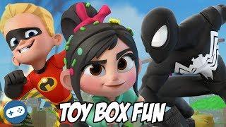 Black Suit Spiderman Dash And Vanellope Disney Infinity 3.0 Toy Box Fun Gameplay