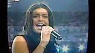 Jordin Sparks singing the national anthem at the Super Bowl