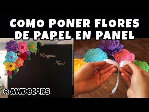 Como Poner Flores de Papel en Panel | AWDecors