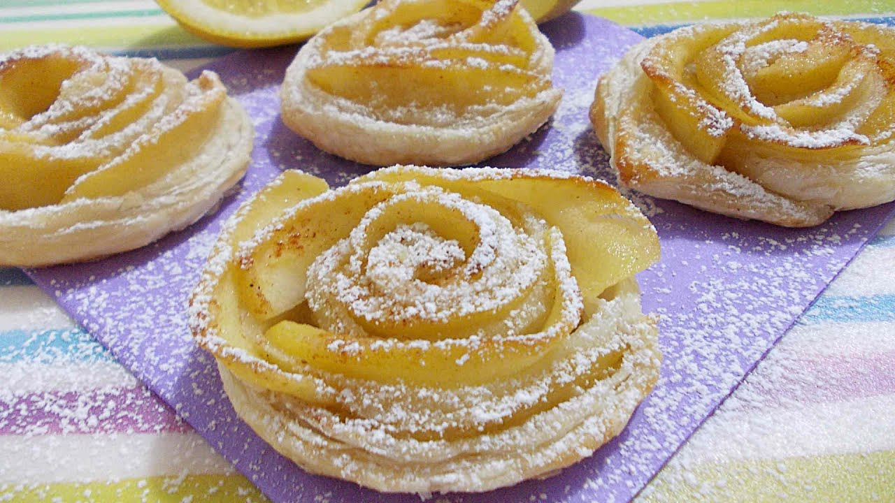 ROSE di pasta sfoglia con Mele o Fragole ♥ VIDEORICETTA
