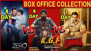 KGF vs ZERO Box office collection Day 8 | Simmba First Day Box office collection