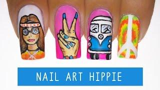 Nail Art Hippie- Tie Dye | Kombi | Cruz De Nero | Yin Yang | Paz E Amor - Aline Makelyne