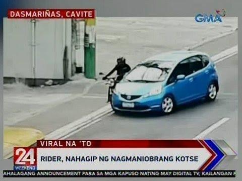 [GMA]  24 Oras: Rider, nahagip ng nagmaniobrang kotse