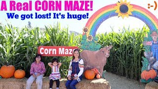 A Real Halloween CORN MAZE! We Got Lost in a CORN MAZE! Pumpkin Patch 2018 with Hulyan and Maya