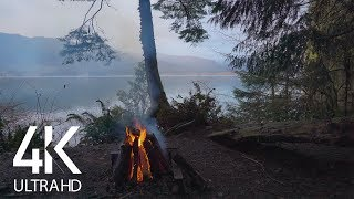 4K Campfire At The Mountain Lake With Calming Crackling Fire Sound - 8 Hours