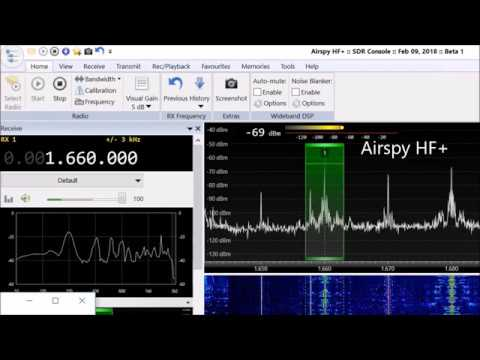 Icom IC-7300 vs  Airspy HF+ SDR on medium wave - смотреть онлайн на