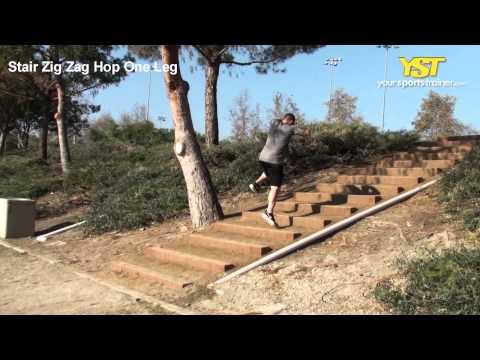 Stair Zig Zag Hop One Leg