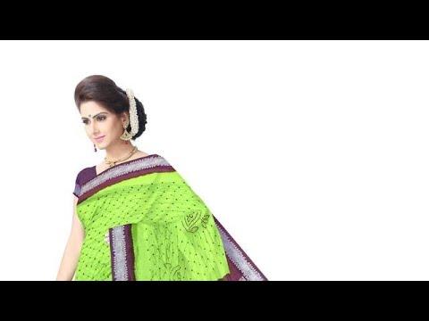 Green And Purple Color Dupion Sik Bandhani Saree