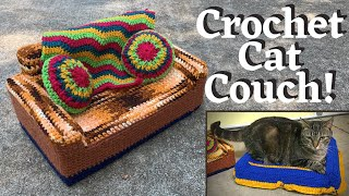 How To Crochet A Cat Couch For Your Cat | Free Pattern | Tutorial Tuesday Ep. 120