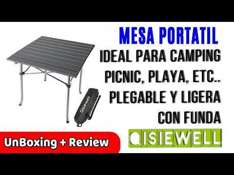 Qisiewell Mesa de Camping Playa de Aluminio Plegable y Compacta | UnBoxing Review en Español
