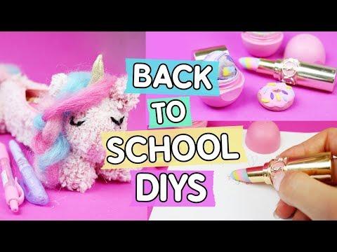 3 coole Back To School DIYs ♥ Einhorn Mäppchen 🦄, Donut Radiergummi 🍩 und EOS Stifte