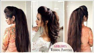 Gorgeous Wedding VOLUMIZED Ponytail Hairstyle | Messy Ponytail Using Bump | Israt Oishee