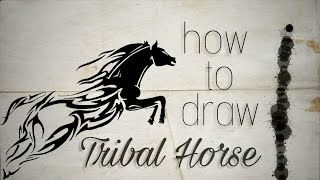 How To Draw Tribal Horse Tattoo ✔