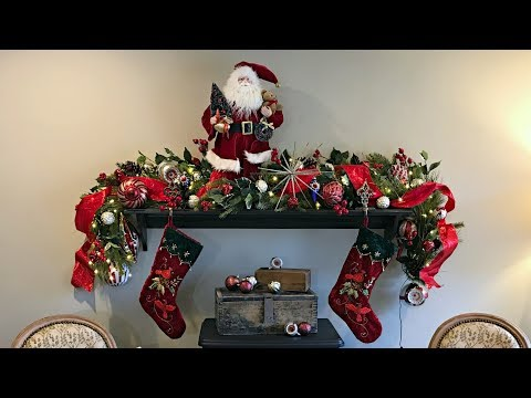 Classic, Traditional Christmas Fireplace Mantel  - How To Decorate For Christmas - Mantel Ideas