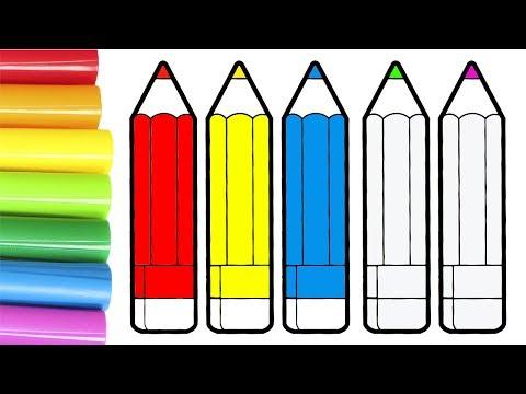 Dibuja y Colorea 🎨 Aprende a colorear lápices de colores | Videos Educativos para Niños