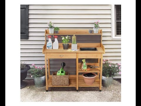 Topeakmart Outdoor Garden Potting Bench Potting Table Work Bench with Removable Sink Drawer-Overview