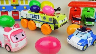 Robocar Poli car toy and Surprise eggs Tank Disney cars play