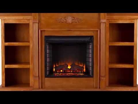 Video for Tennyson Pine Electric Fireplace with Bookcases