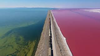 Great Salt Lake Causeway Train over Pink Salt Water