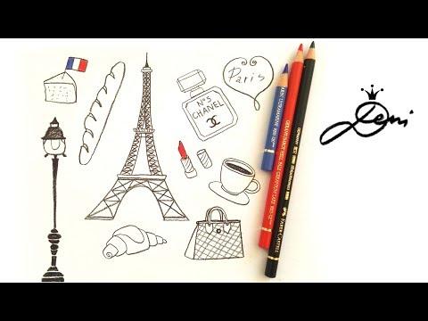 😍 Frankreich schnell zeichnen lernen 👛 Eiffelturm Paris doodles 💄 🧀 👜 Eifelturm 🥖айфеловата кула