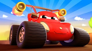 Monster Town - Max the Monster Firetruck Needs Help to Build a Race Circuit! Monster Trucks for Kids