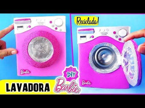 Como hacer LAVADORA// SECADORA para MUÑECAS Barbie muy FÁCIL! MANUALIDADES PARA MUÑECAS