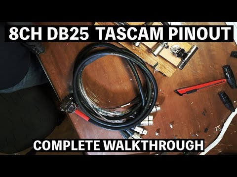 8ch DB25(DSUB) Breakout cable TASCAM PINOUT complete making walkthrough