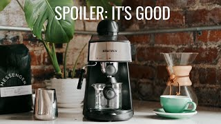 Barista Review Of The Sowtech Espresso Machine 3.5 Bar 4-Cup Espresso Maker // Shot On Fuji XT4