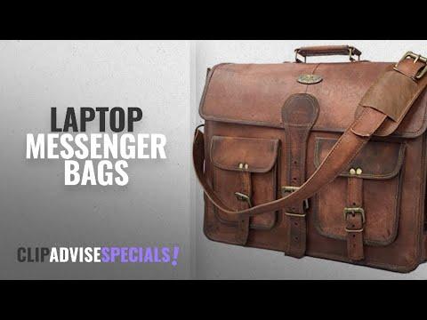 10 Best Laptop Messenger Bags [2018 Best Sellers]: DHK 18 Inch Vintage Handmade Leather Messenger