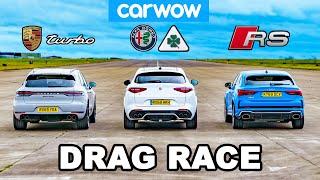 Porsche Turbo v Audi RS v Alfa Quadrifoglio - DRAG RACE
