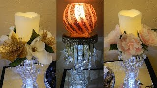 Dollar Tree DIY Elegant Home Decor| DIY Glam Candle Holder| Bling Wedding Candle Holders Centerpiece