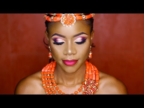 NIGERIAN BRIDAL MAKEUP TUTORIAL - TRADITIONAL  FT. A HALF CUT CREASE  AND OMBRE LIPS
