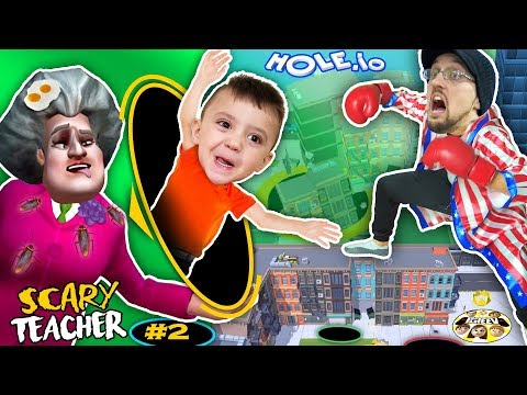 SCARY TEACHER falls in HOLE.io + HUGE FGTEEV GRANNY SECRET LEAKED (Miss T #2)