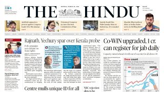 29 March 2021 | The Hindu Newspaper Analysis | Current affairs 2021 #UPSC #IAS #Todays The Hindu