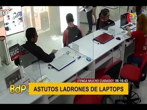 Delincuentes son captados robando laptops en tiendas del Cercado de Lima
