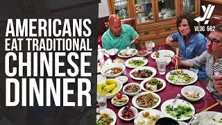 Traditional Chinese Meal Cooked for Group of Americans