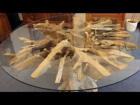 Wurzeltisch Esstisch aus Teakholz mit runder Glasplatte