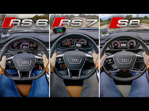 アウディのRS6とRS7とRS8のパフォーマンスの違いを直線で比較。これは興味深い比較動画